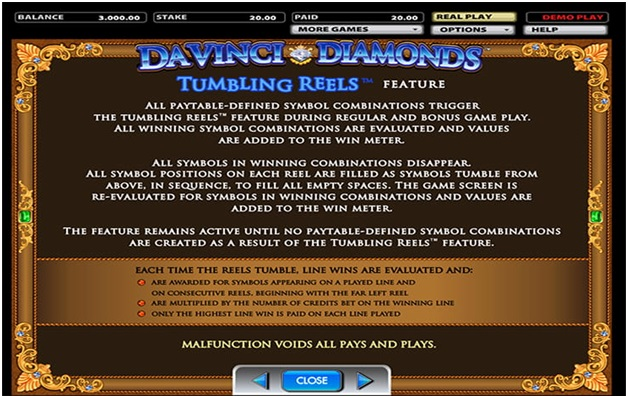 Da Vinci Diamonds Pokies - Game Play