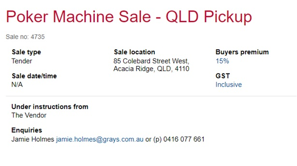 pokies machines for sale Qld